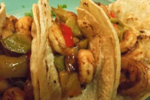 Shrimp Tacos with Cilantro Lime Cream Sauce Topping