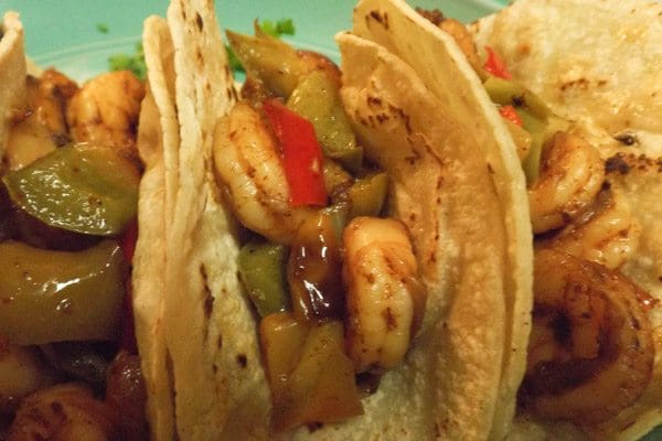 Shrimp Tacos with Cilantro Cream Sauce
