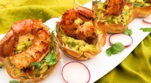 Grilled Shrimp Wonton Baskets