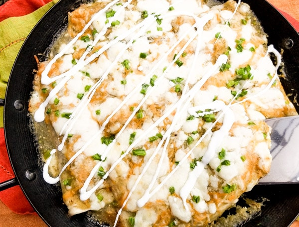 Cheesy Beef Enchiladas in Salsa Verde