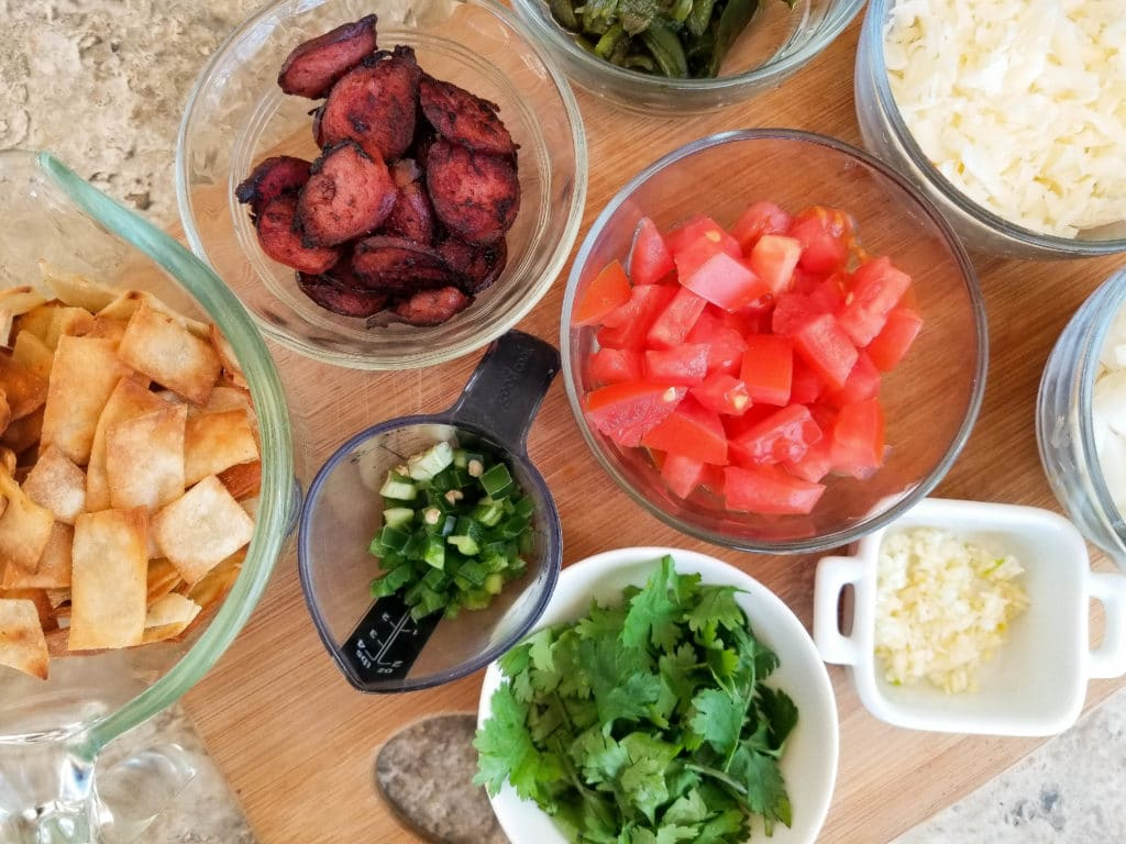 Ingredients for Authentic Migas Recipe | mexicanappetizersandmore.com