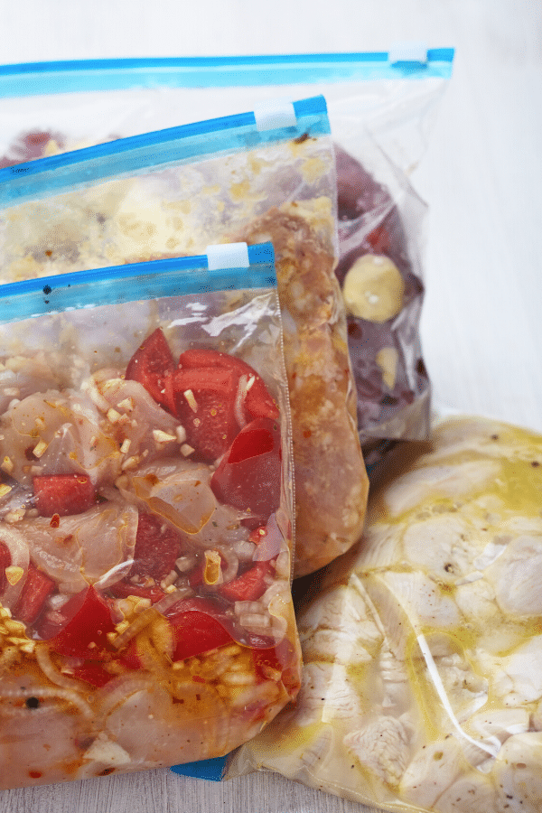 Freezer Meals in Ziploc bags.
