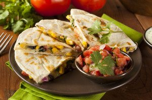 Spicy Chicken Quesadilla Wedges with Pico de Gallo