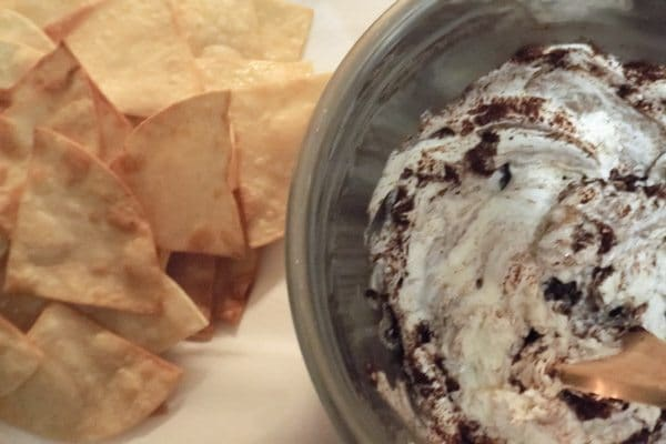 Homemade tortilla chips for the Irresistible Mexican Hot Bean Dip