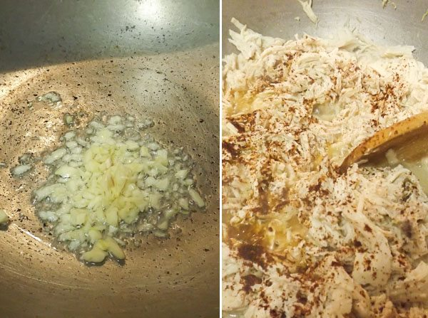 Cooking garlic and shredded chicken in dutch pan for the Authentic Mexican Chicken Enchiladas with Red Sauce