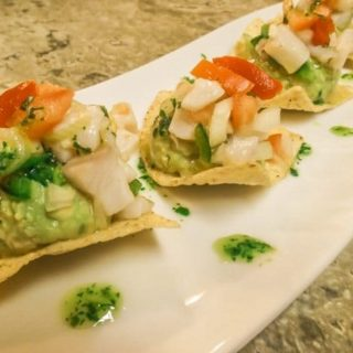Tilapia Ceviche with Guacamole and Tortilla Chips