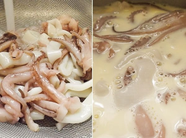 Calamari rings and tentacles being rinsed and soaked in buttermilk for the Fried Calamari with Creamy Chipotle Sauce