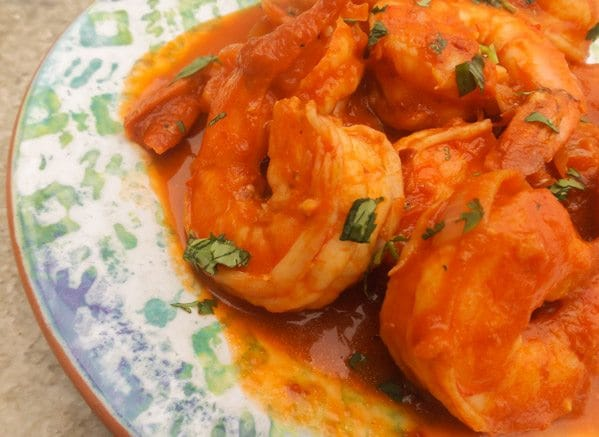 Gambas a la Diabla (Deviled Shrimp) made with a savory spicy tomato sauce.