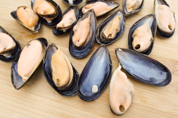 Mussels on the half shell on a cutting board for Baked Mussels