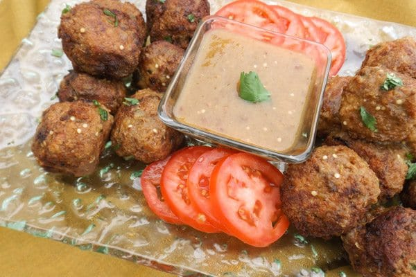 Best Turkey Meatballs with Serrano Chipotle Sauce are so moist and served with a serrano chipotle sauce.