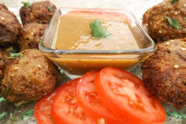 Best Turkey Meatballs with Serrano Chipotle Sauce served on a white platter.