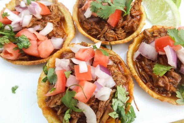 Beef Chilapitas served on a white platter-Chilapitas Mixtos