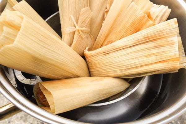 Beef tamales in cooking pot-Beef Mexican Tamales
