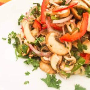 Mushroom Ceviche served on a white platter
