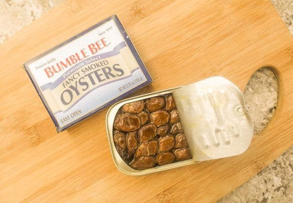Can of smoked oysters for the Smoked Oyster Dip.