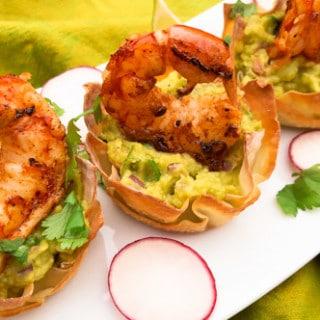 Grilled Shrimp Wonton Baskets