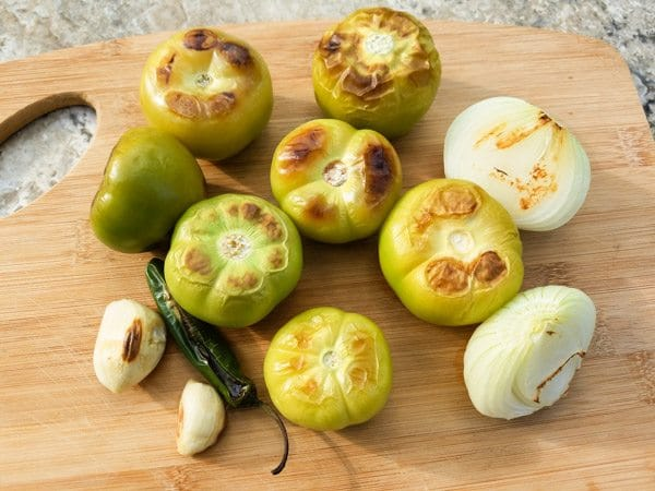 Tomatillos, onions, serrano peppers and garlic for the Mini Serrano Chicken Kabobs
