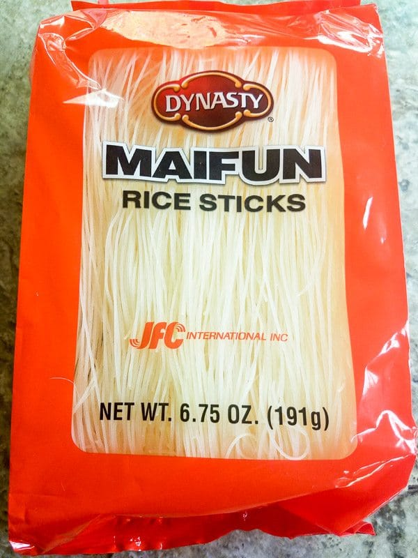 Rice noodles in package and will be used for Pinchos de Camarones.