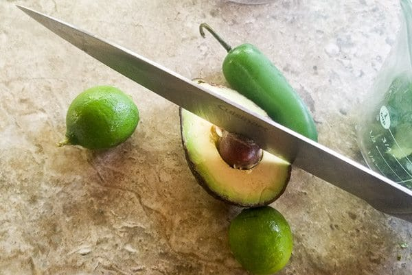 Ingredients for avocado jalapeno dip for pinchos de camarones.