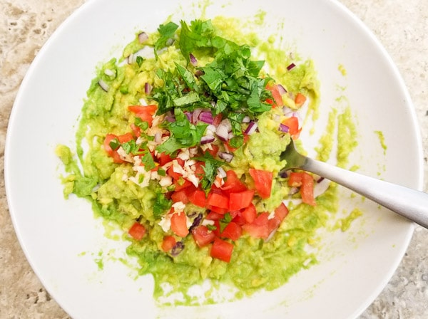 Preparing guacamole for the Seafood Guacamole