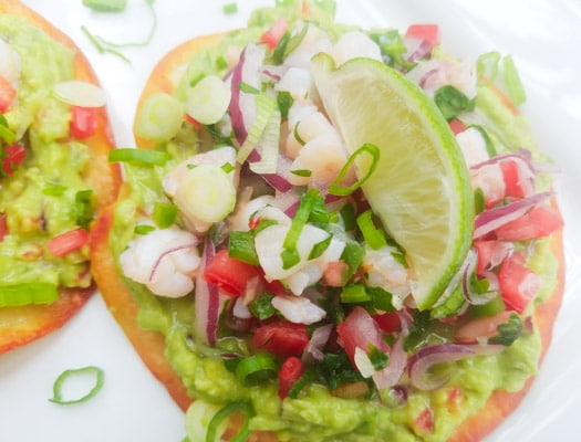 Shrimp Ceviche Tostadas served on a white platter.