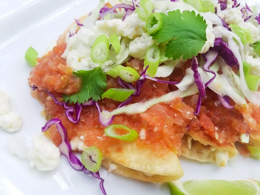 Entomatadas (Cheese Stuffed Tortilla) stuffed with queso fresco, topped with a savory tomato sauce, shredded red cabbage, sliced white onions and scallions. These entomatadas are served on a white plate with lime wedges.