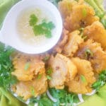 Garlic Tostones served with garlic aioli.