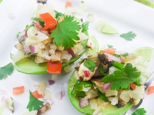 Stuffed Avocado Cauliflower Ceviche