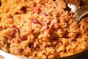 Rice has finished cooking and now you are ready to enjoy Puerto Rican Rice and Beans (Arroz y Habichuelas).