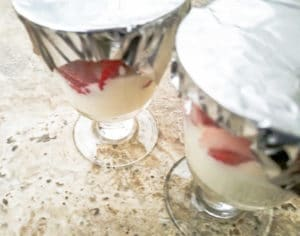 Showing how to pre-make and refrigerate Fresas con Crema
