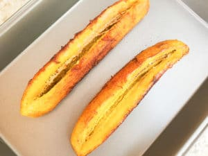 Fried plantains slit down the middle to resemble canoes.