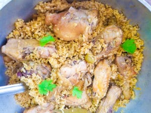 Cooked Puerto Rican Rice with Chicken (Arroz con Pollo).