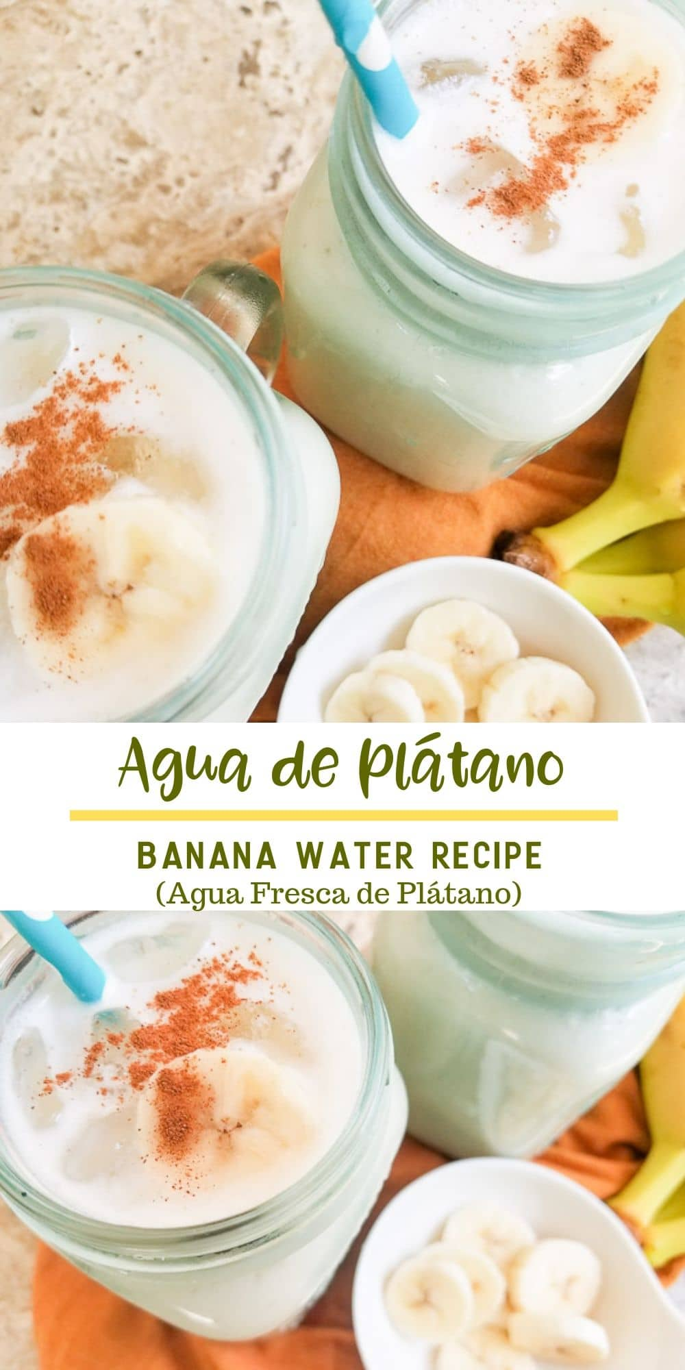 Agua de Plátano (Banana Agua Fresca) is a delicious refreshing drink made with a few simple ingredients and perfect anytime of the year especially on hot summer days! #aguadeplatano #bananaaguafresca #bananarecipes #bananasmoothies #mexicandrinks