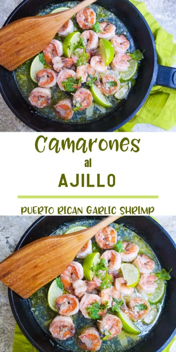 Camarones al Ajillo (Puerto Rican Garlic Shrimp) are cooked in a delicious broth of butter, garlic, lime, white wine and cilantro or parsley.  Serve as an appetizer, with pasta or on top of rice. #mexicanappetizersandmore #camaronesalajillo #puertoricangarlicshrimp #puertoricanseafoodrecipes #puertoricanappetizers #shrimpscampi #shrimprecipes #garlicshrimps