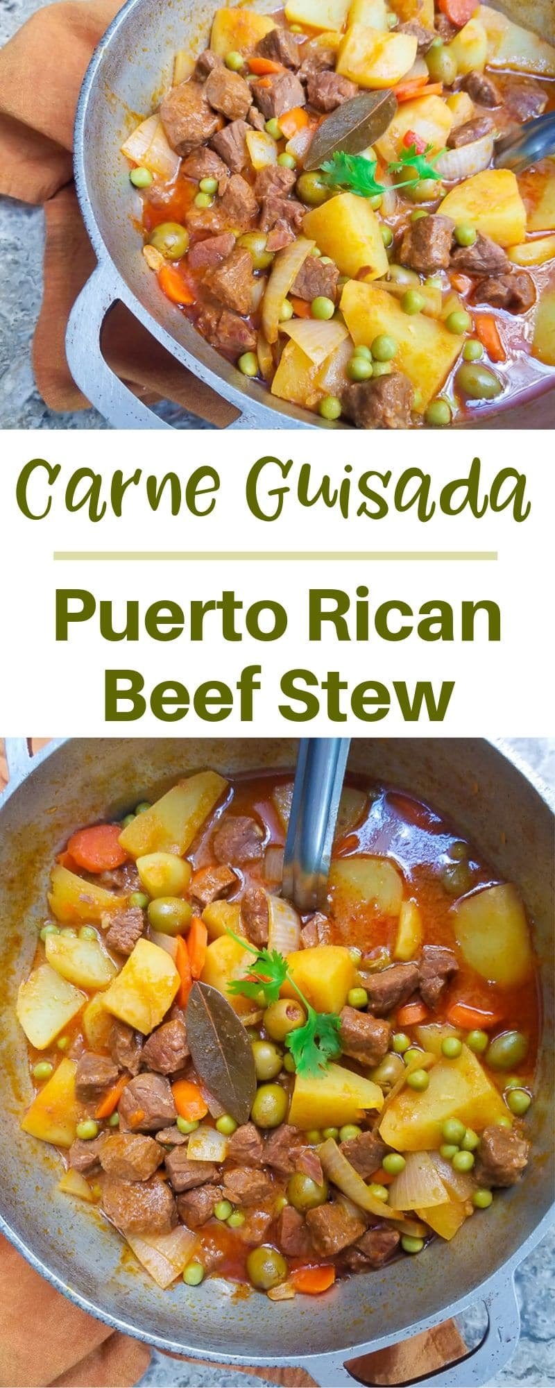 This Carne Guisada (Puerto Rican Beef Stew) recipe is filled with delicious chunks of beef, carrots, onions, potatoes, olives and plenty of Puerto Rican spices.  Comforting and filling traditional Puerto Rican Beef Stew. #mexicanappetizersandmore #carneguisada #puertoricanbeefstew #puertoricandishes #puertoricanrecipes #puertoricanstews #beefstew