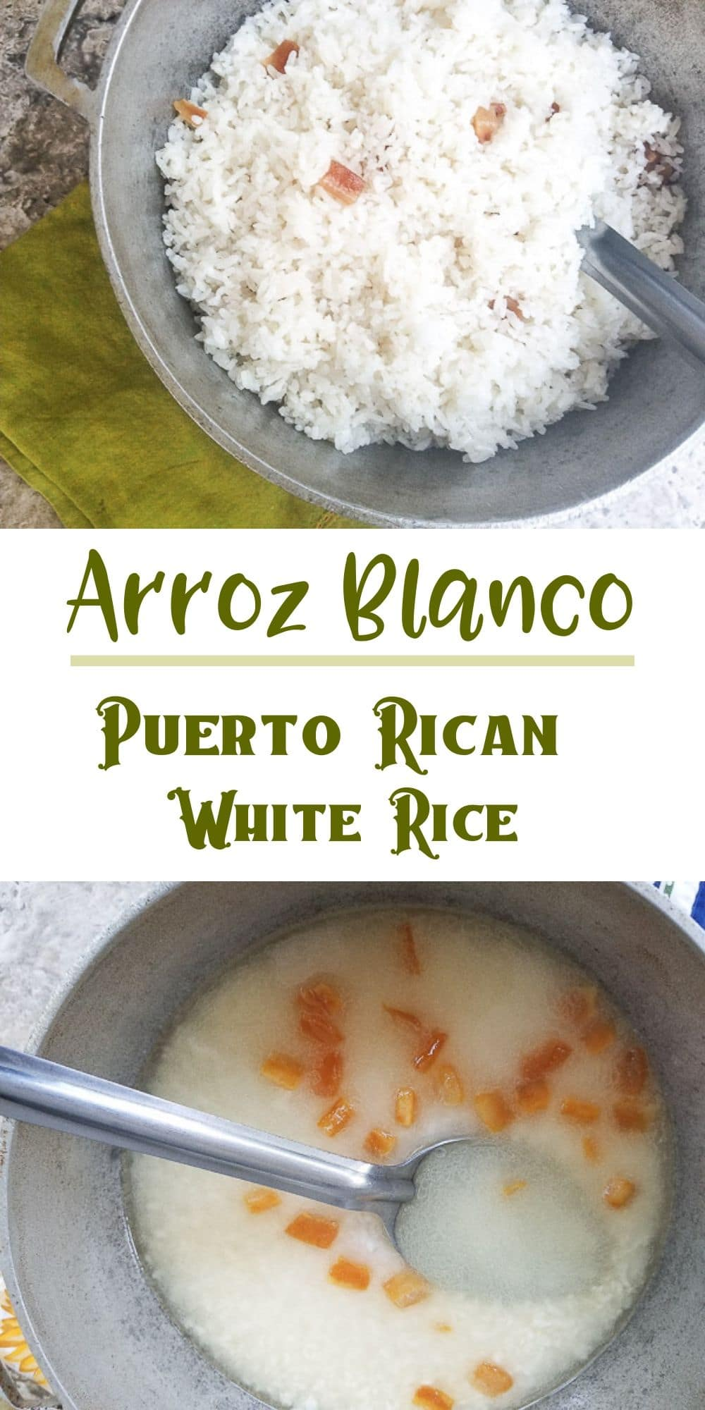 Arroz Blanco (Puerto Rican White Rice) is delicious, fluffy and perfect with any meal.  Flavored with crispy \'\