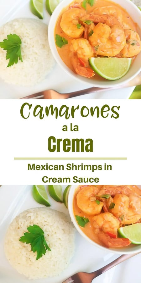 Camarones a la Crema (Shrimps in a Chipotle Cream Sauce) is a delicious shrimp dish made in a creamy chipotle cream sauce that is cooked in twenty minutes or less, making it the perfect weeknight meal.  Serve with rice or veggies for a full savory meal or even as an appetizer. #camaronesalacrema #camaronesalacremainenglish #camaronesalacremarecipe #camaronesalacremachipotle #camaronesalacremarecetas