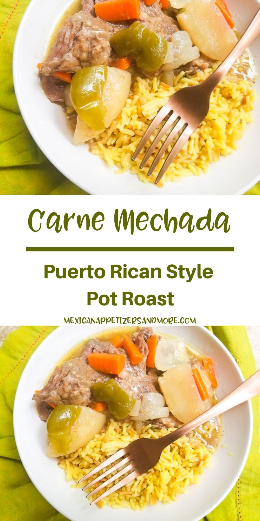 A delicious comforting dish of Carne Mechada (Puerto Rican Style Pot Roast) cooked in savory spices, yummy veggies and cooked to tender perfection in an instant pot.  Stove top and slow cooker directions included as well. #carnemechada #puertoricanpotroast #potroast #puertoricanrecipes #latinmeals #eyeroundroast #beefroast #holidays