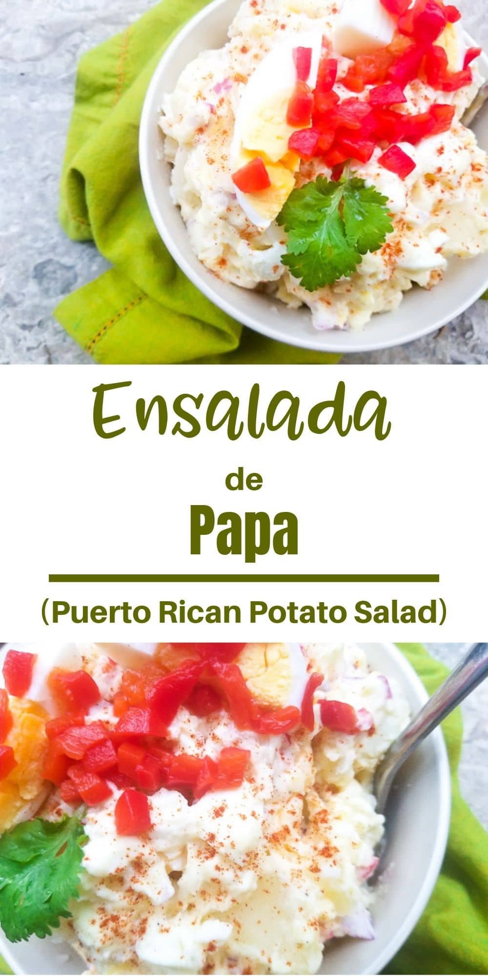 This Ensalada de Papa (Puerto Rican Potato Salad) is creamy and all kinds of delicious!  Made with boiled potatoes, red onions, red peppers, boiled eggs, mayonnaise, vinegar, salt and pepper.  A yummy, no fuss potato salad.  The perfect side to any meal! #ensaladadepapa #ensaladas #ensaladasdepapa #puertoricanpotatosalad #thanksgiving #thanksgivingfood #thanksgivingdishes #thanksgivingsides #christmasdishes #christmasrecipes #christmassidedishes #puertoricanfood #mexicanappetizersandmore
