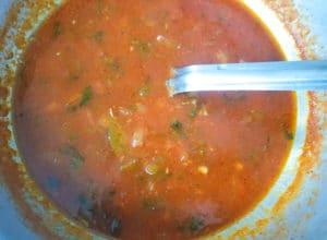 Criolla Sauce in a caldero.