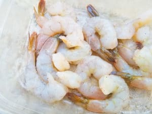 Peeled and deveined shrimp for the mofongo con camrones.