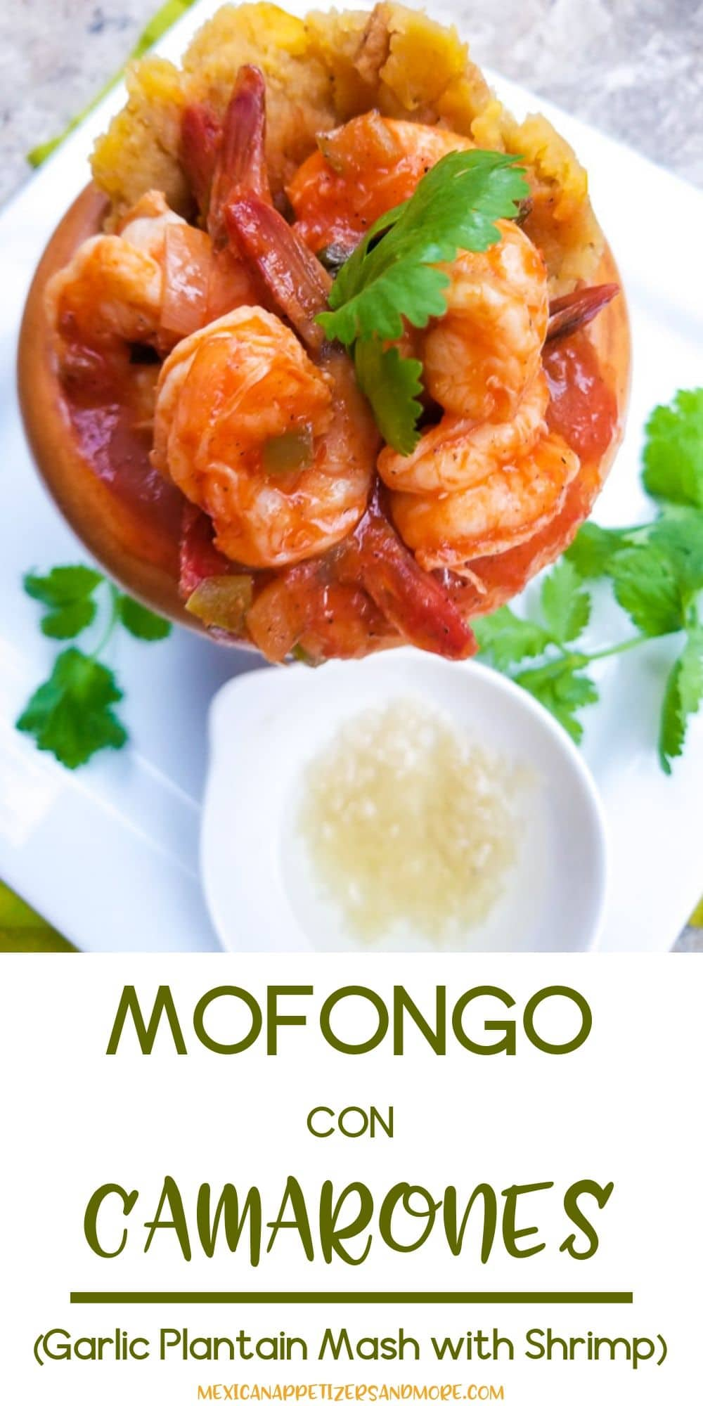 Mofongo con Camarones or Mofongo de Camarones (Mofongo with Shrimps) is a hyper delicious Puerto Rican dish made with a garlic plantain mash and served with shrimps in a salsa criolla sauce. One of the best dishes you will ever have! #mexicanappetizersandmore #mofongo #mofongorecipe #mofongopuertorican #mofongorecipepuertorican #mofongodecamaron #mofongowithshrimp #mofongocriollo