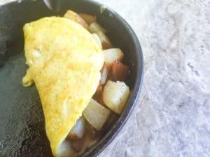 Folded omelette over goodies.