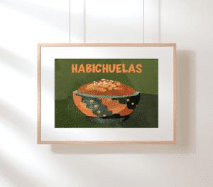 """""""Habichuelas"""" Art Decor in wooden frame."""