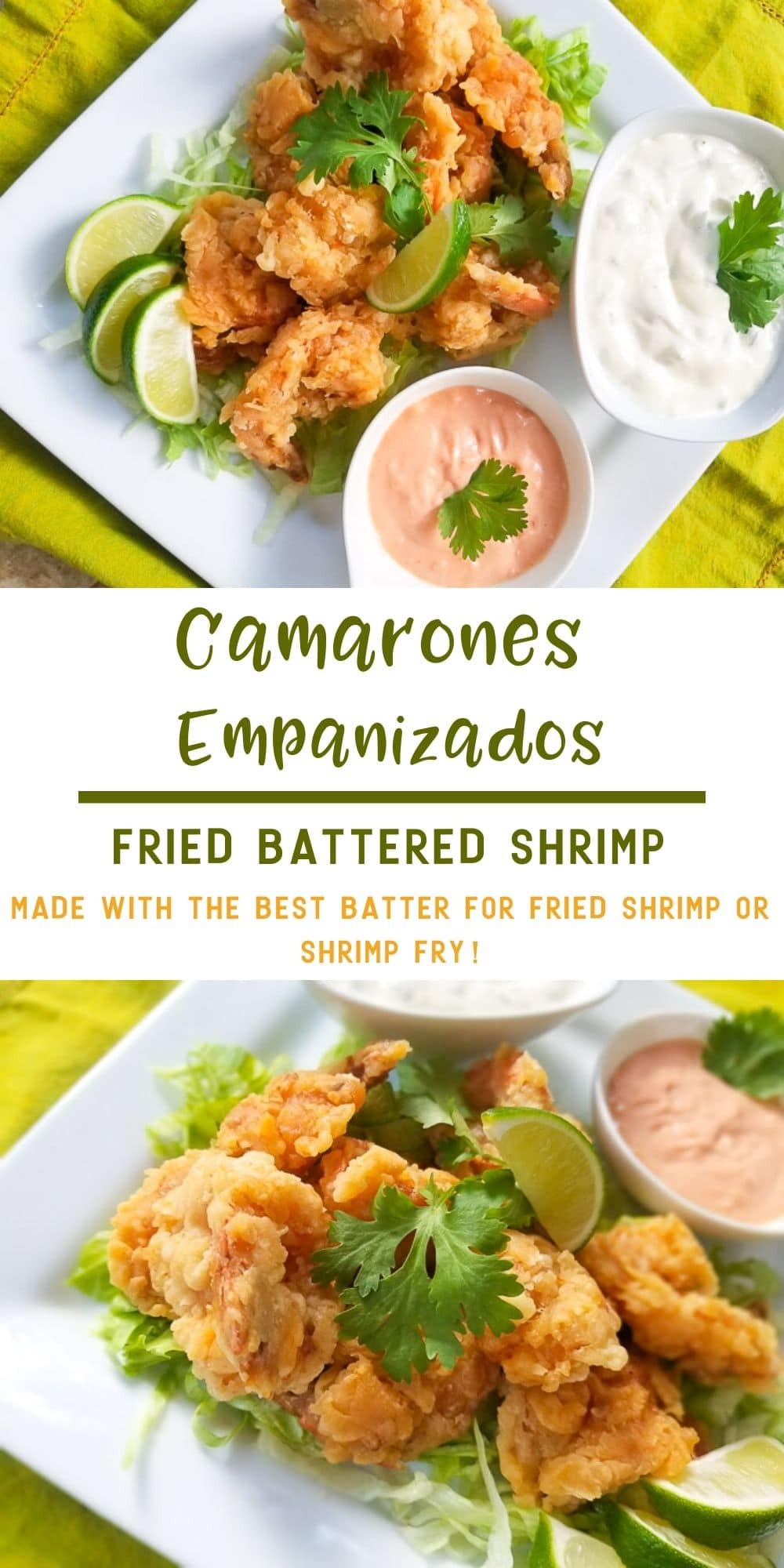 These Camarones Empanizados (Battered Shrimp) are hyper delicious.  Perfectly crispy on the outside and tender on the inside.  This batter will be one of the best batters you will come across for the most perfect crispy succulent tender shrimp fry!  This dish is perfect as an appetizer or served as a meal with a side of fries or salad. #camaronesempanizados #friedbatteredshrimp #camaronesfritos #breadedshrimp #batteredshrimps #shrimprecipes #camarones #recetasdecamarones#puertoricanrecipes