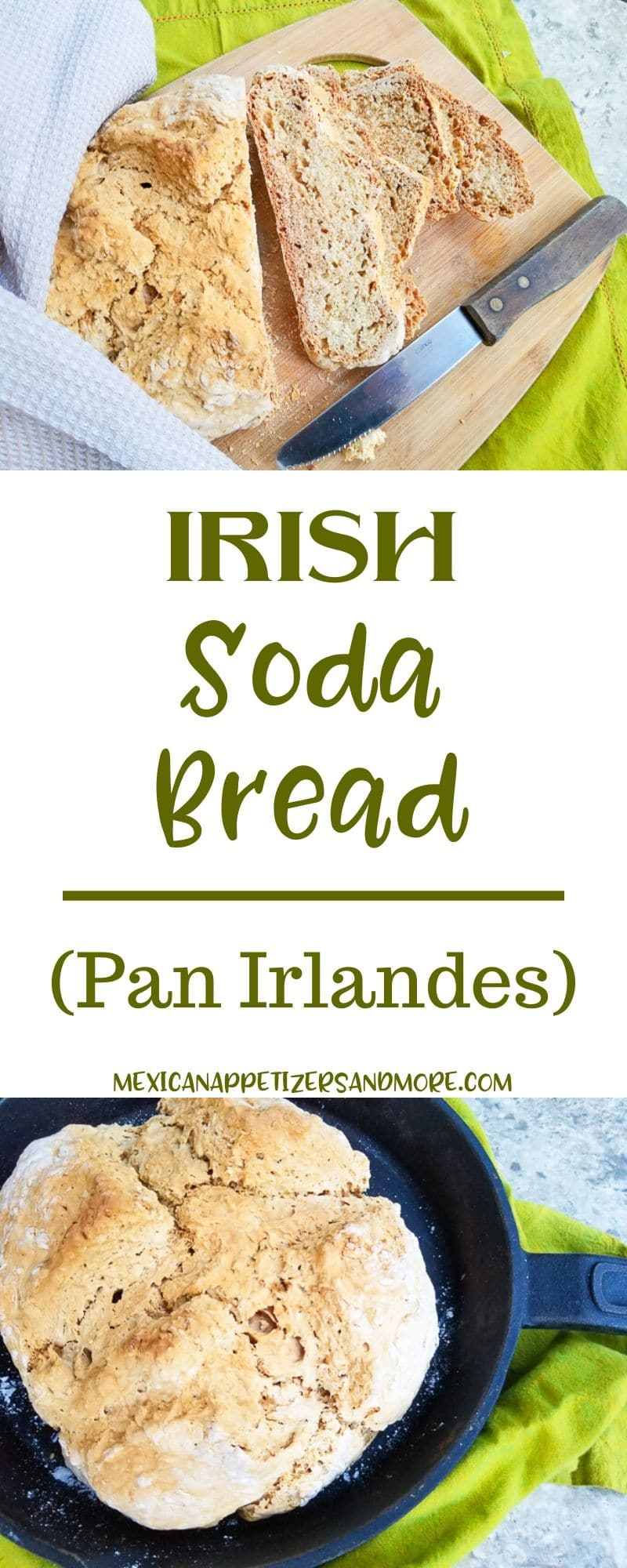 Irish Soda Bread is delicious and one of the easiest breads to make. Just 4 ingredients and zero rising time, makes this bread perfect to make any day of the week. Perfect with butter, jelly, for sandwiches or dunking in stews.#irishsodabread #sodabreads #breadrecipes #recetasdepan #pan