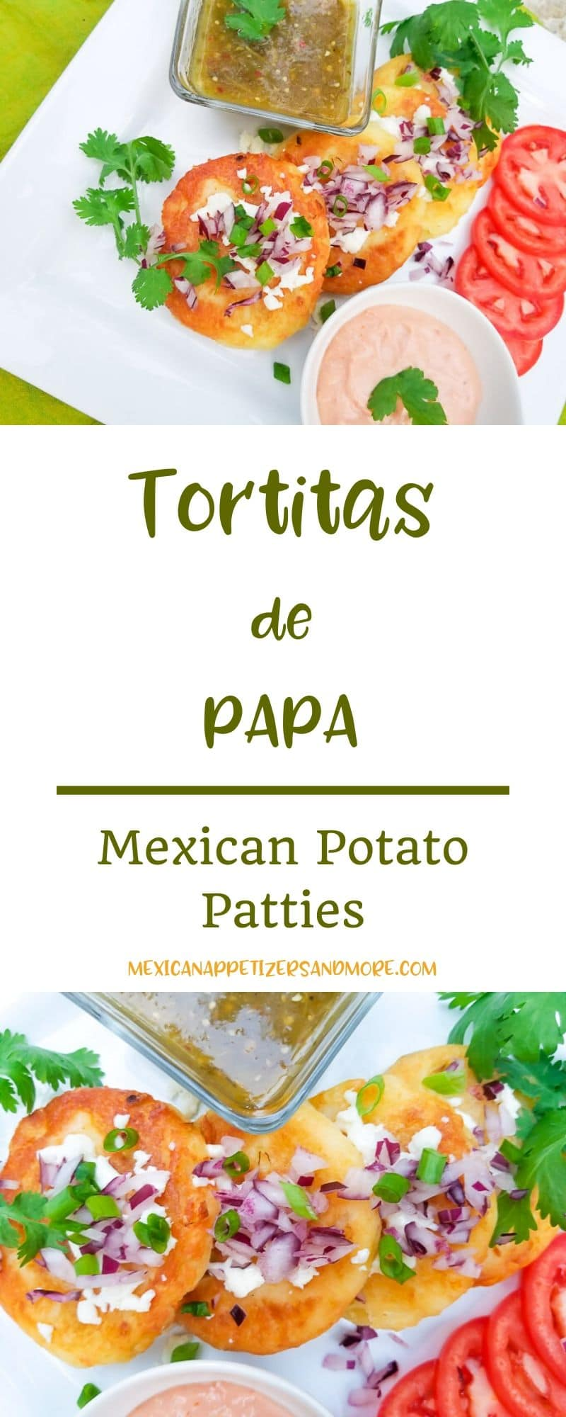 Tortitas de Papa (Potato Fritters) are delicious potato patties that are perfectly crispy on the outside, creamy and fluffy on the inside. A perfect little morsel for any meal of the day! #tortitasdepapa #potatopatties #lentdishes #vegetarian