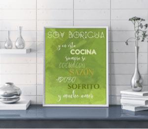 Soy Boricua Green Kitchen Artwork
