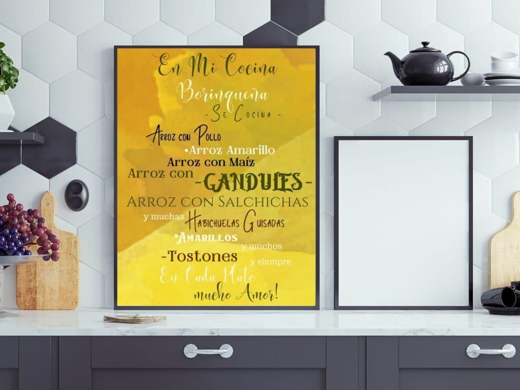 En Mi Cocina Borinquena picture in a frame.