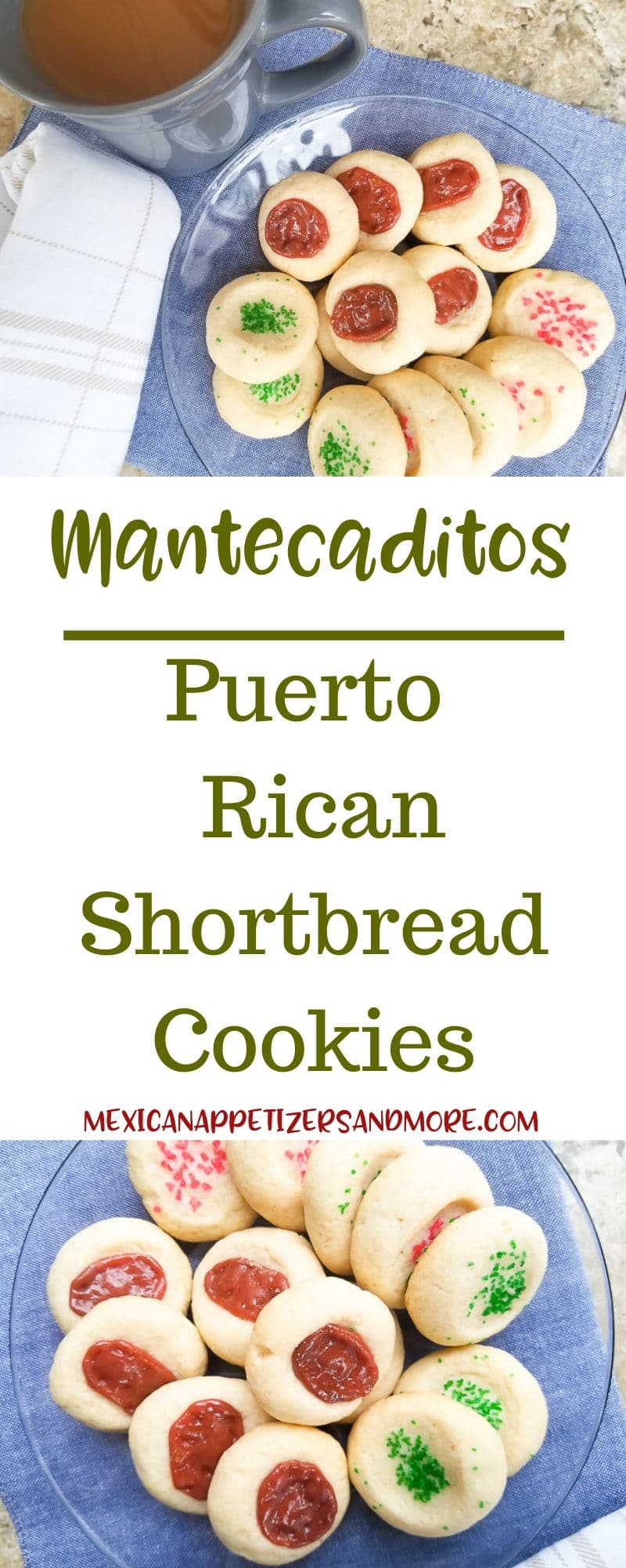 Mantecaditos (Puerto Rican Cookies) are crisp, yummy buttery cookies that are truly perfect anytime.  Serve them up with coffee or tea and you\'re good to go!  Made with just a few ingredients and easily shaped, these Puerto Rican cookies are no fuss anytime especially around the holidays! #mantecaditos #puertoricanshortbreadcookies #holidaycookies #guavacookies #guava #mantecaditospuertoricoreceta #mantecaditosreceta #guavapasterecipes #guavarecipes